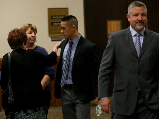Charles Tan arrives to court Tuesday.  The judge has given the jury an Allen Charge after they sent a note to the court that they were unable to reach a decision.