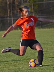 Brighton's Emma Gould scored two goals on free kicks