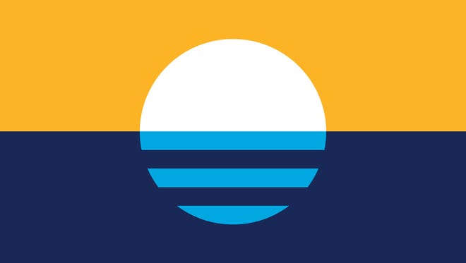 """""""Sunrise Over the Lake"""" by Robert Lenz was selected as the City of Milwaukee's new, but still unofficial, flag, after a four-month-long contest."""
