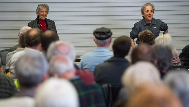 Rep. Joann Ginal and Sen. John Kefalas take questions from the public during a town hall meeting at Old Town Library Saturday, January 7, 2017.