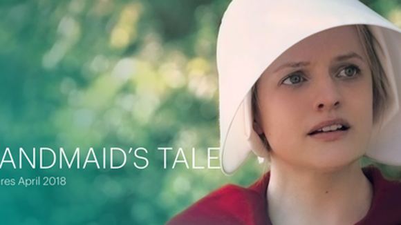 "An ad for Hulu's ""The Handmaid's Tale"" shows Elisabeth Moss as Offred"