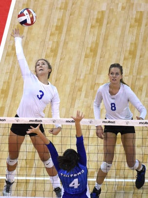 Catholic Memorial's Maddy Rondeau (3) and Lexi Alden