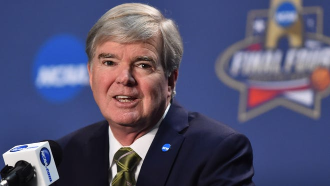 Mar 31, 2016; Houston, TX, USA; NCAA president Mark Emmert speaks to the media during a press conference at NRG Stadium. Mandatory Credit: Bob Donnan-USA TODAY Sports