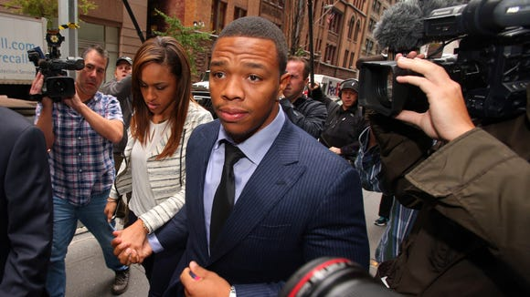Suspended NFL running back Ray Rice arrives with his