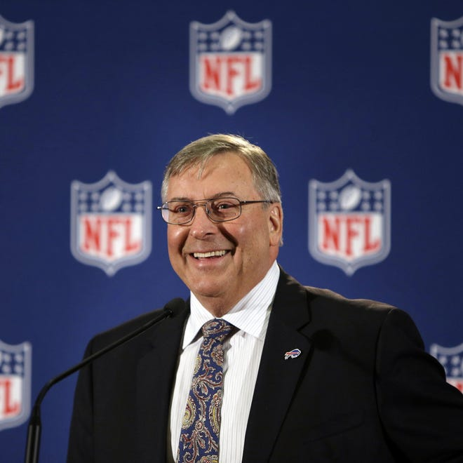 Terry Pegula, who was just approved to purchase the Buffalo Bills, speaks at a news conference in New York Oct. 8.