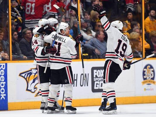 USP NHL: CHICAGO BLACKHAWKS AT NASHVILLE PREDATORS S HKN USA TN