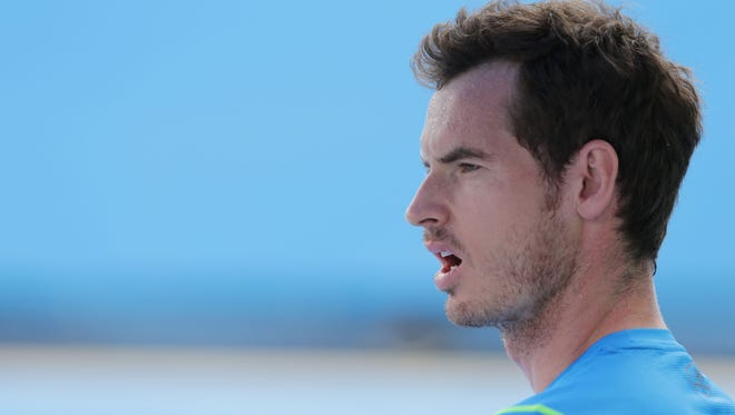 Andy Murray of Great Britain looks on during a practice session in Melbourne, Australia.