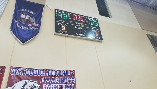 The score when the final buzzer went off in the game between the Okkodo Bulldogs and St. John's School Knights.