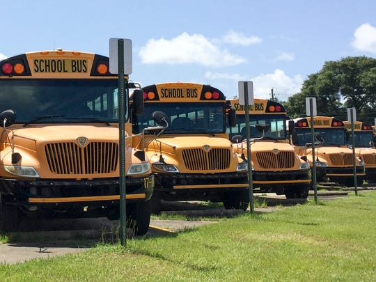 School buses at Escambia County School District Transportation Department in Pensacola on Wednesday, July 27, 2016.