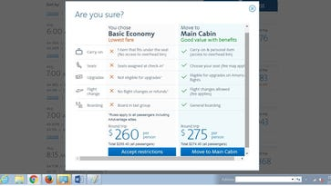 Screen shot of American Airline's popup screen during th ebooking of a Basic Economy fare.