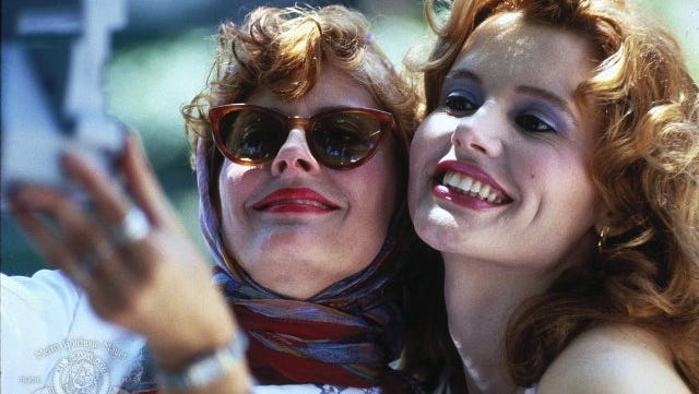 "Susan Sarandon and Geena Davis in a scene from the 1991 film ""Thelma & Louise."""