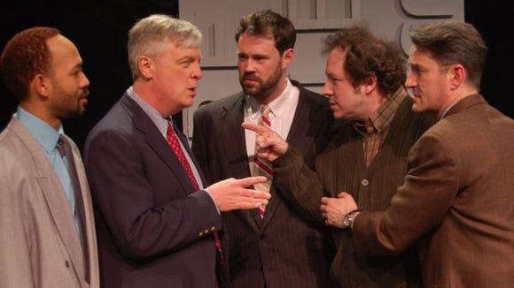 L-R Darlando Eanon, Peter Doyle, Jake Purcell, Stephen Cena, Daniel Mejak in The Normal Heart at JCC CenterStage