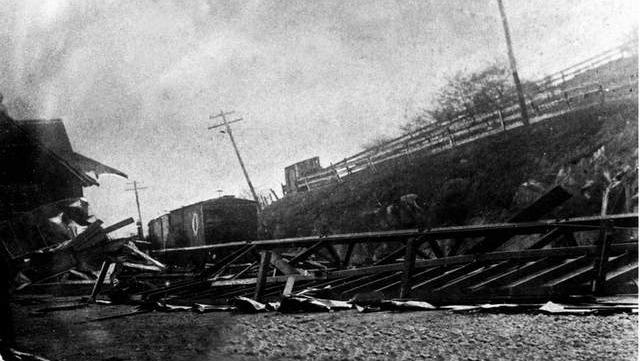 Photograph taken shortly after the April 28, 1890, train wreck that wiped out Staunton's C&O train station, killed one passenger — an 18-year-old actress traveling with a dramatic troupe — and injured many others. The accident provided the impetus for the founding of King's Daughters' Hospital. This view looks east along the tracks at the demolished depot.