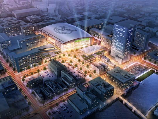 The new arena for the Milwaukee Bucks is the focal