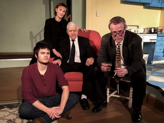 "Starring in the KNOW Theatre production of ""Of the Fields, Lately"" are, from left, Zachary Chastain, Laurie Brearley, Mike Arcesi and Tim Gleason."