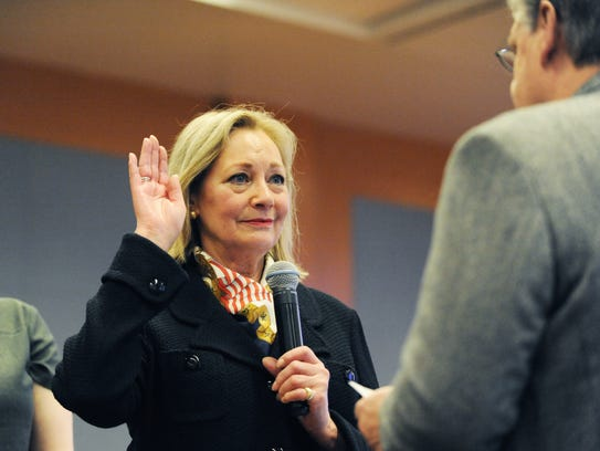 Mary Adams takes the oath of office on Tuesday as Monterey