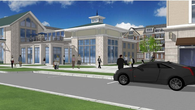 Rendering of the first building planned for the Pinnacle North project on Lakeshore Drive in Canandaigua. The building will contain a restaurant, brewery and apartments.