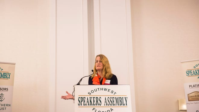 Noreen Harrington, partner at investment firm Developer Capital, speaks about Bitcoin at the Southwest Florida Speakers Assembly Bitcoin Luncheon in Bonita Springs on Friday, Jan. 26, 2018.