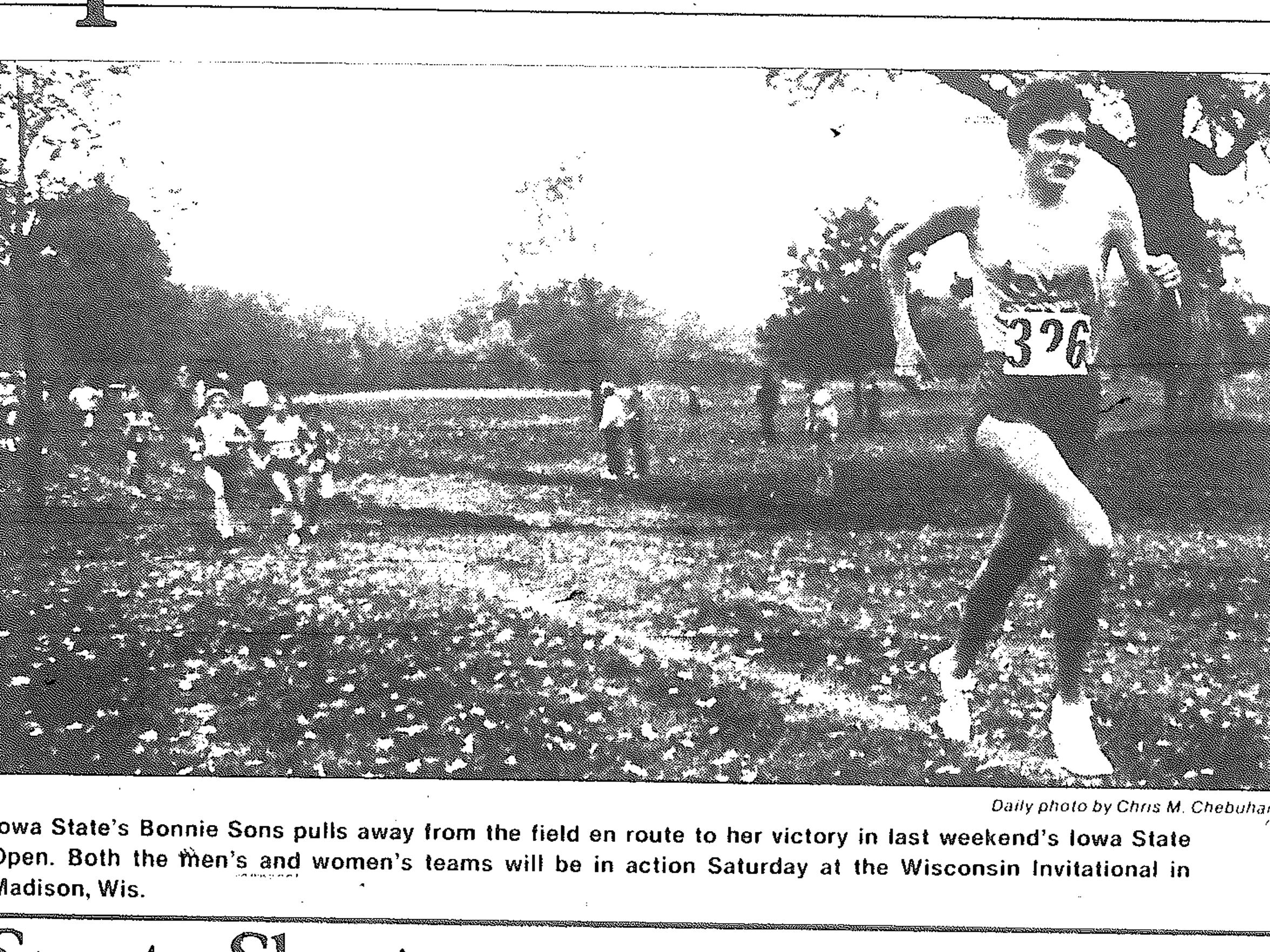 Clipping about Iowa State cross country runner Bonnie Sons from a 1985 edition of the Iowa State Daily.