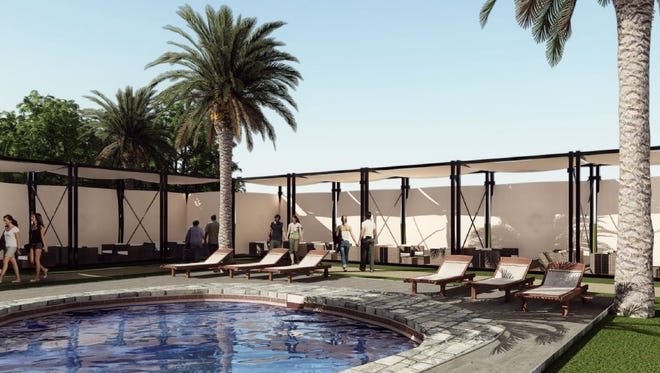 A rendering of the pool area of the proposed Cloud 9 SilverRock temporary luxury lodging during Coachella and Stagecoach music festivals.