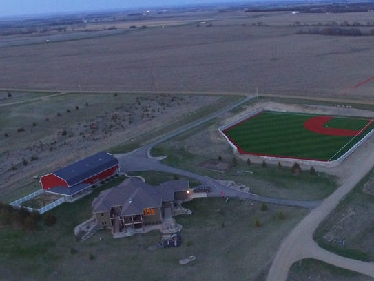 An aerial view of the ballpark on Tyler and McKenzie
