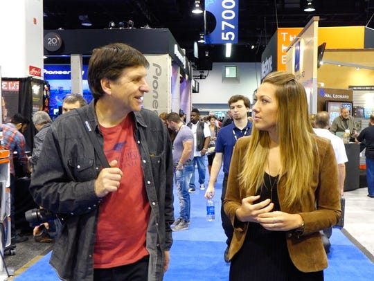 Walking the floor of the NAMM show with Colbie Caillat