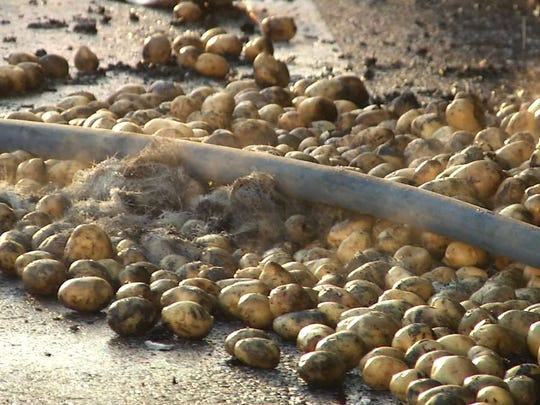 A truck carrying potatoes caught fire on I-295 Thursday morning.