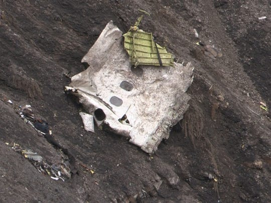 Debris from the Germanwings Airbus A320 at the crash