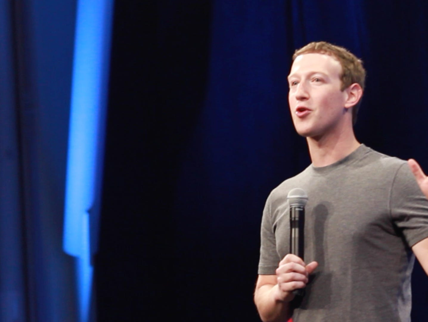 Mark Zuckerberg on stage at the F8 developers conference in San Francisco, Calif., March 25, 2015.