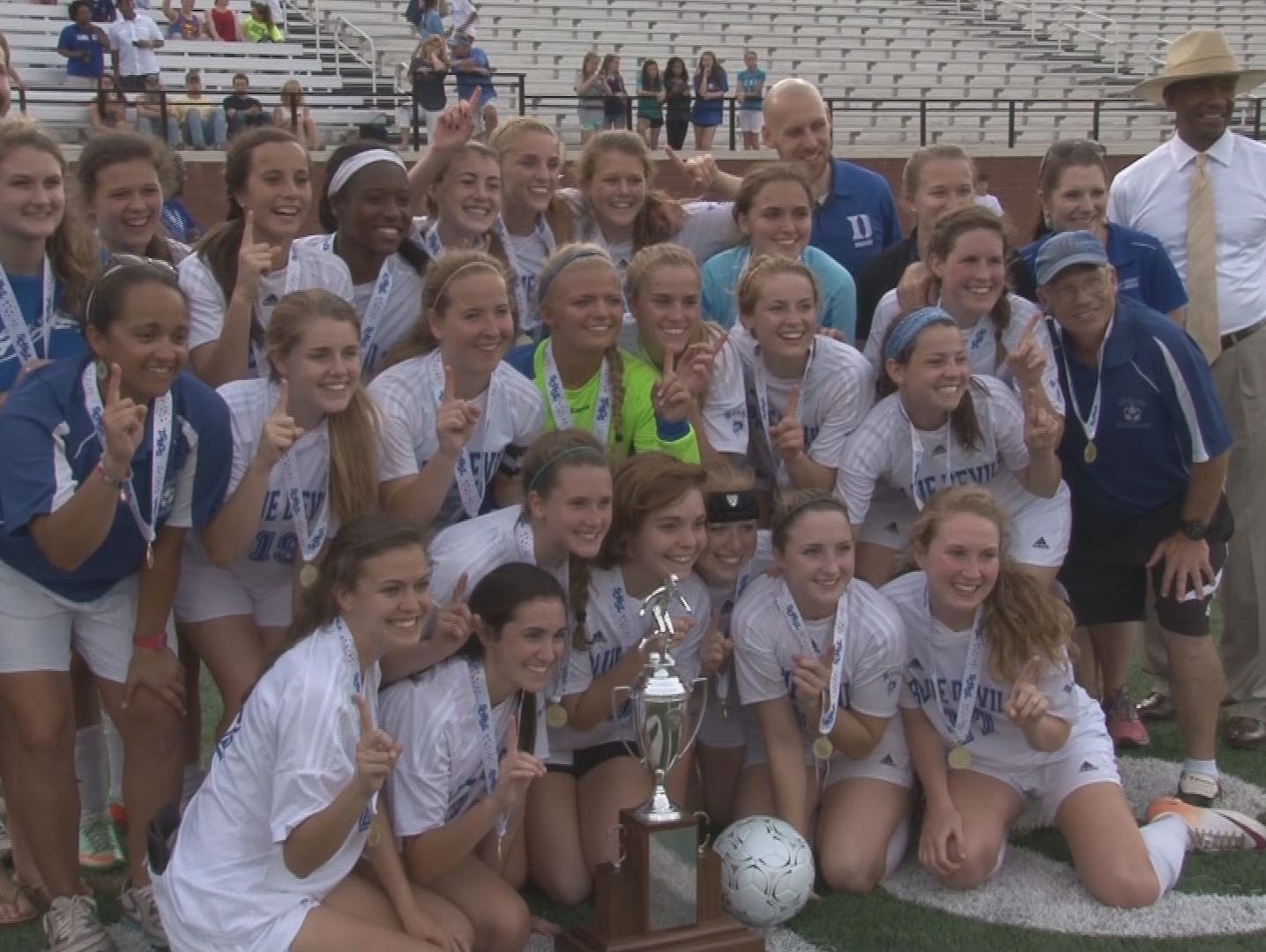 The Dreher girls soccer team poses with the state championship trophy after its 7-3 win over Hilton Head.