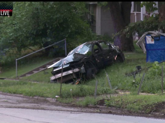 The scene of a fatal car accident on 19th Street.