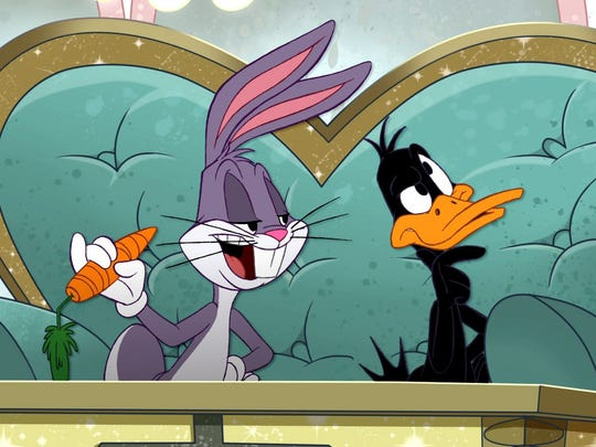 """Daffy Duck and Bugs Bunny in a scene from """"The Looney"""