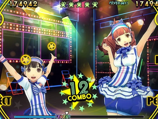 """""""Persona 4: Dancing All Night"""" features a user interface that puts timing nodes on the sides of the screen."""