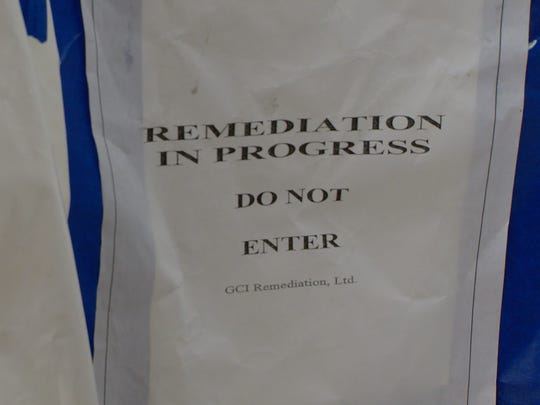 A remediation sign in Southside ISD's central offices