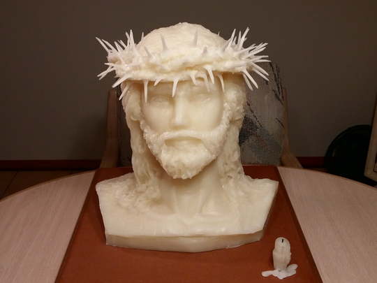 John Eagan's life-size wax bust of Jesus was made from recycled church candles.