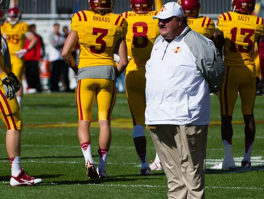 Iowa State Cyclones assistant coach Mark Mangino looks over the field prior to the game against the Toledo Rockets at Jack Trice Stadium on Oct. 11, 2014, in Ames, Iowa.