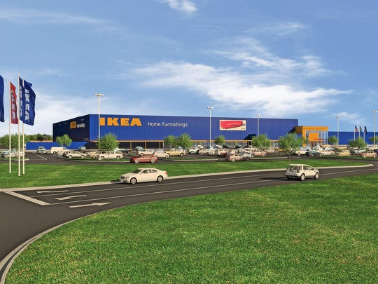 Architectural rendering of the proposed IKEA in Fishers.