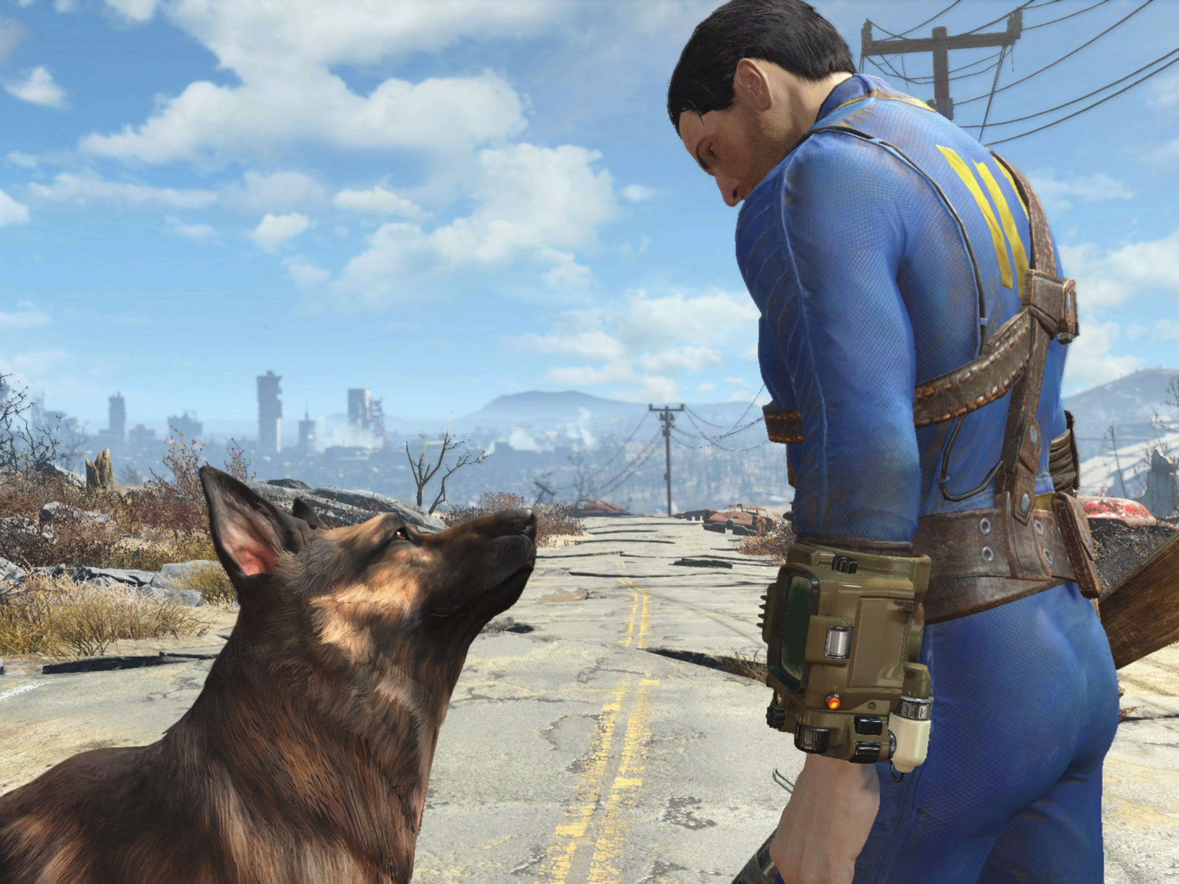 Meet your trusty pal Dogmeat in Fallout 4. Yes, the