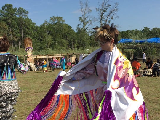 Rachel Ellen Sage Blanford (right) said dancing in pow wows gives her a place to belong