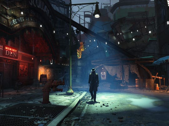 """A survivor explores the streets of post-apocalyptic Boston in the video game, """"Fallout 4."""""""