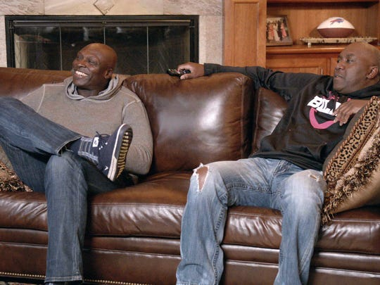 Bruce Smith, left, and Thurman Thomas were both Hall of Fame players for the Bills in their glory days.