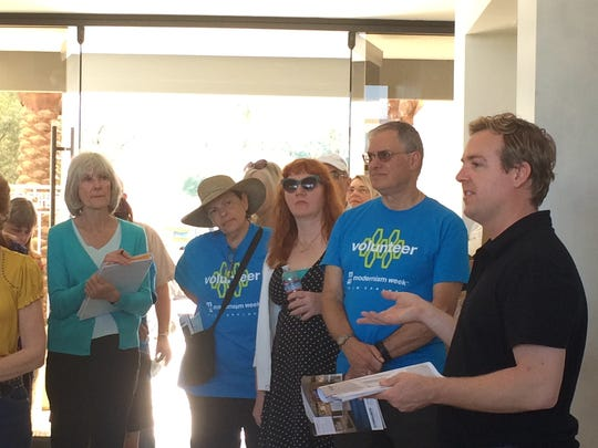 "Christopher Kennedy talks to docents who will help with the Christopher Kennedy Compound Show House tour part of Modernism  Week 2016. His work will be featured on HGTV's ""House Hunters Renovation"" on Aug. 19, 2017."