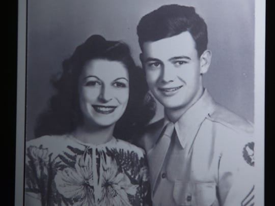 Marjorie Palmer (left) and husband Richard Webster, who died in 2000.