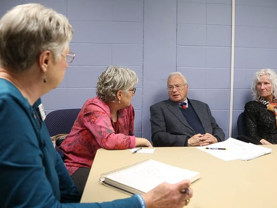 David Witke, center, talks at the First Unitarian Church on the south side of Des Moines during a Compassion & Choices chapter meeting , Sunday April 10, 2016.