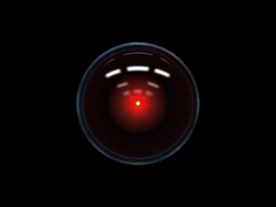 "The electronic eye of the Hal 9000 computer in ""2001: A Space Odyssey."""