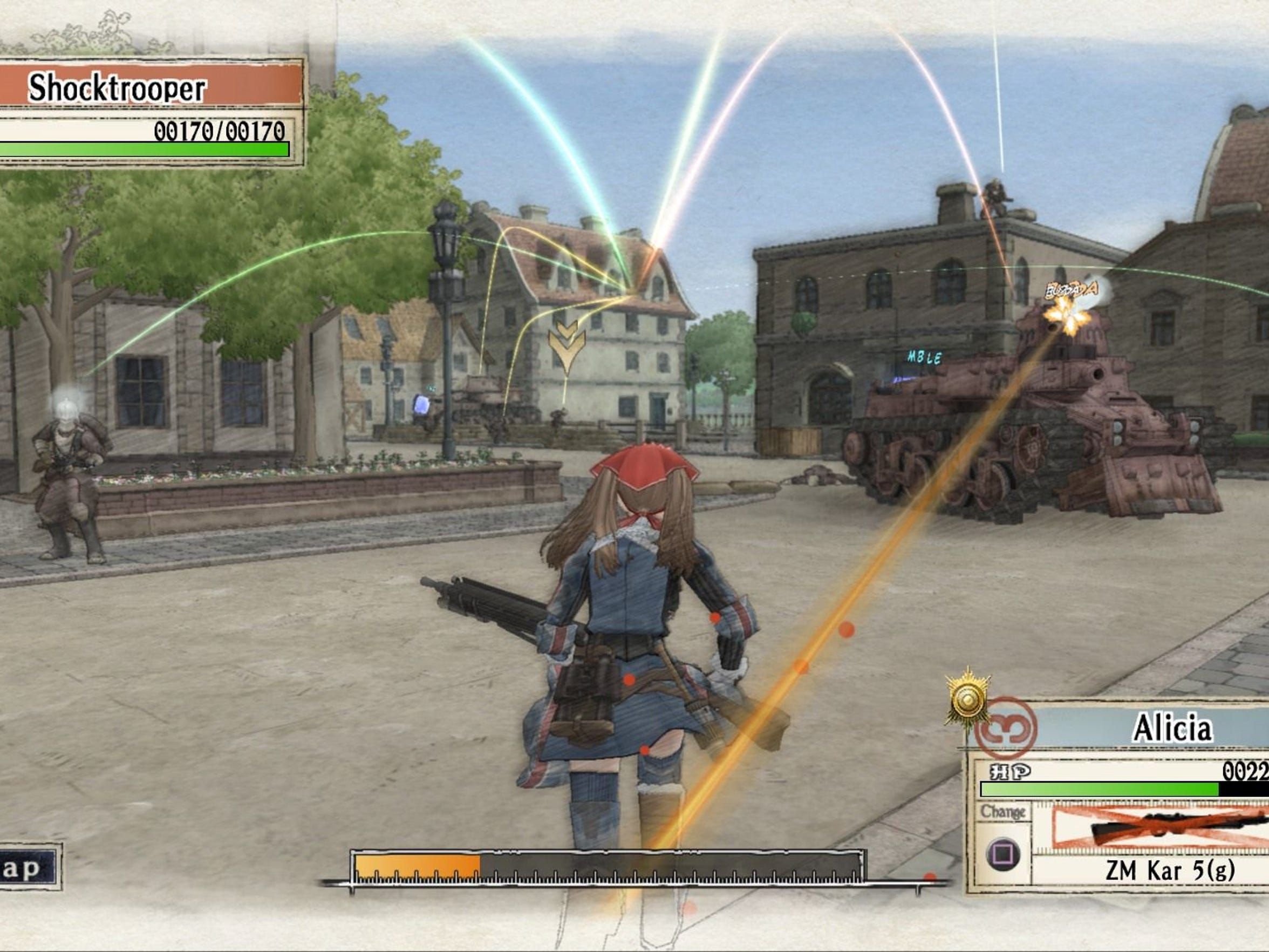 Despite its strategy RPG roots, combat in Valkyria Chronicles Remastered is done through a third-person, partially real-time perspective.