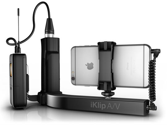 The iKlip A/V works with smartphones such as the iPhone