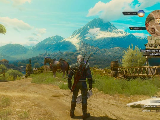 "This image shows a scene from ""Witcher III: Blood and"