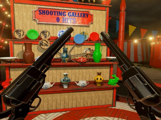 Shooting at targets in VR Funhouse