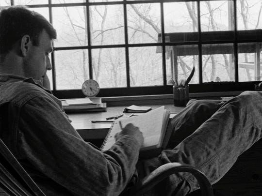 "An old photograph of Wendell Berry , which was used in the film ""The Seer."""
